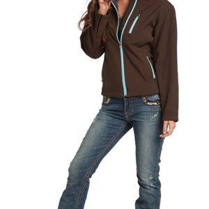 Resistol Women's Soft Shell Zip Jacket, Brown NWT